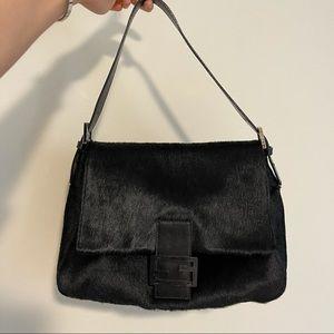 Fendi vintage black fur shoulder bag